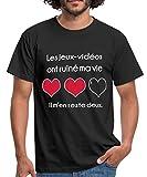 Photo de Spreadshirt Gamer Jeux-Vidéos Ruiné Ma Vie T-Shirt Homme, L, Noir
