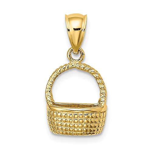 Colgante de cesta de oro de 14 quilates con parte trasera plana 2-D