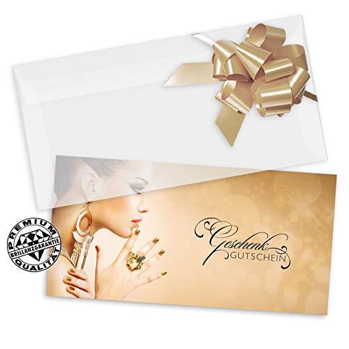 10 Geschenkgutscheine DIN-lang + 10 Kuverts + 10 Schleifen. Gutscheine für Nagelstudio Kosmetikstudio Kosmetikinstitut. KS9269