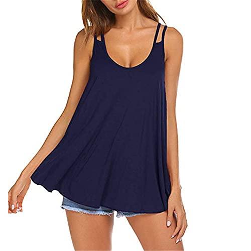 Camisola Mujer Verano Cuello Redondo Chic Sin Espalda Color Sólido Largos Sueltos Shirt Mujer Sexy Exquisita Camisa Mujer Fiesta Disco Playa Tops Mujer D-Navy XXL