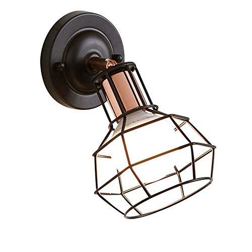 Verstelbare metalen wandlamp lamp Moderne eenvoud zwenkarm wandlamp Edison E27 1-licht wandlantaarn slaapkamer bedlampje ijzeren kooi traplicht, D-B zwart