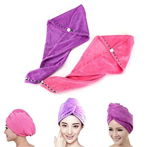 Frcolor Haar-trocknendes Tuch, 2PCS Haar-Turban-Tuch-Torsion-Verpackung, schnell trocknendes saugfähiges Microfiber trockenes Haar-Kappe (rosa lila)