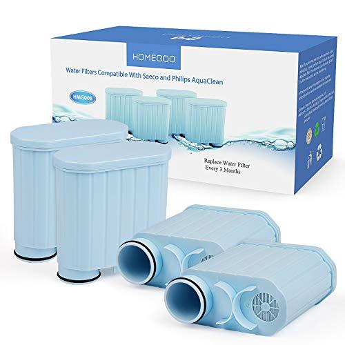 Filtre à Café compatible avec Philips AquaClean, Homegoo Fltre à eau pour Adoucisseur à Charbon actif Filtre Anti-calcaire compatible Avec CA6903 / 10/00 / 01/22 / 47 (4 paquets)