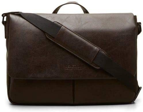 Kenneth Cole Reaction Distressed Echo Vegan Leather Flapover Crossbody Anti Theft RFID Bag Brown product image