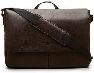 Kenneth Cole Reaction Pebbled Vegan Leather Messenger Bag Laptop & Tablet Slim Shoulder Day Case for School, Work, Travel, Brown, Laptop