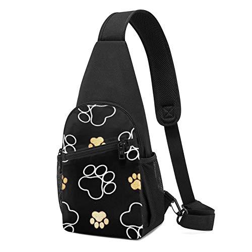 Mochila con estampado de huellas de perro, mochila ligera para el pecho, bolsa de viaje y senderismo, color Negro, talla Talla única
