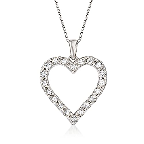 Ross-Simons 0.30 ct. t.w. Diamond Heart Pendant Necklace in Sterling Silver. 18 inches