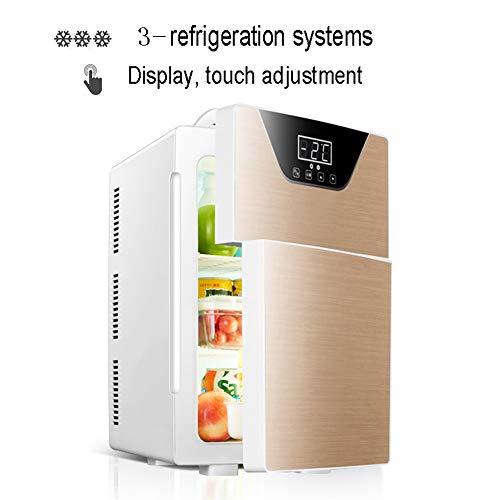 NYGJMNBX Mini-koelkast, 20 liter, compacte koeler, warme wijnkoeler, inclusief stekker voor stopcontact en 12 V autoladers goud