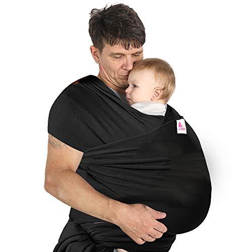Lictin Fascia Porta Bambino - Fascia Porta Bebè,Baby Wrap,Marsupio Fascia Neonato per Neonati e Bambini Fino a 16 kg,Morbido e Confortevole,Nero