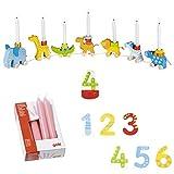 goki 2665 - Set di 10 candele in legno rosa con motivo a stelle