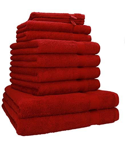 Betz 10-TLG. Handtuch-Set Premium 100% Baumwolle 2 Duschtücher 4 Handtücher 2 Gästetücher 2 Waschhandschuhe Farbe dunkelrot