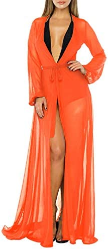Pink Queen Women s Long Sleeve Flowy Maxi Bathing Suit Swimsuit Tie Front Robe Cover Up Orange product image