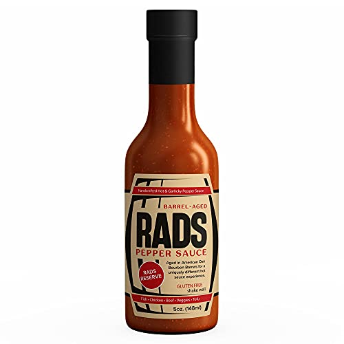 RADS Pepper Sauce | Handcrafted Hot & Garlicky Hot Sauce | 5oz Bottle | Organic, Vegan & Gluten Free | Adds Some Heat to Your Favorite Eats | Aged in Oak Bourbon Barrels | Made in USA