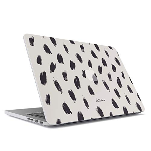 MerchCandy Personalized Slim Plastic Hard Case Cover Compatible With, Macbook Air 13 Inch Model: A1466, A1369 Custom Name Surname Initials Letter Customized Black Stamps Animal Fur Print Customizable
