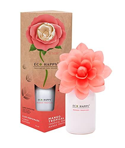 ECO HAPPY - Ambientador de Flor Perfumada Que Cambia de Color. Fragancias Frescas y de Larga duración. 75 ml. (Mango Tropical)