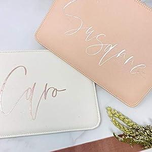 Clutch weiß rosa personalisiert – Geschenk für die Frau – ideal als kleine Handtasche
