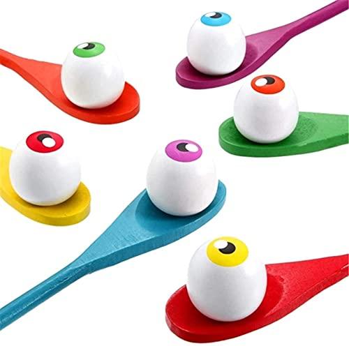 LINANNAN Juegos al Aire Libre para niños, 6 Huevos y 6 cucharas, Juegos de Carreras para jardín, Juguetes