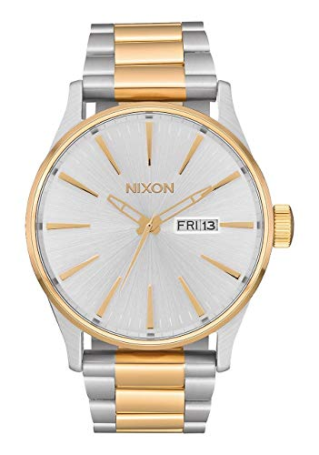 Nixon sentry ss a364 - silver/gold - 108m water resistant men`s analog classic watch A356-1921-00