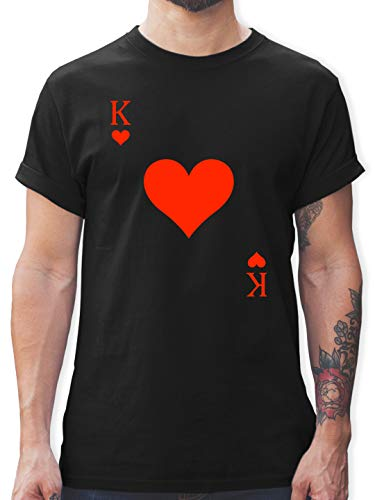 Karneval & Fasching - King Kartenspiel Karneval Kostüm - XL - Schwarz - Karneval Shirt kartenspiel - L190 - Tshirt Herren und Männer T-Shirts