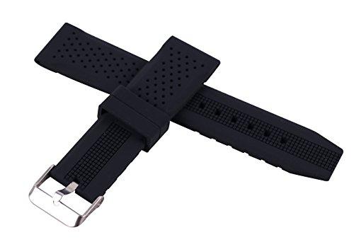 22 mm de Caucho de Silicona con Hebilla de la Correa de Buceo Suave Correa de Reloj Negro Deporte Impermeable Transpirable