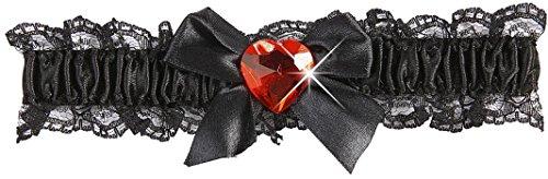 Widmann - AC1020/NOIR - Jarretiere dentelle noire avec coeur rouge/rose