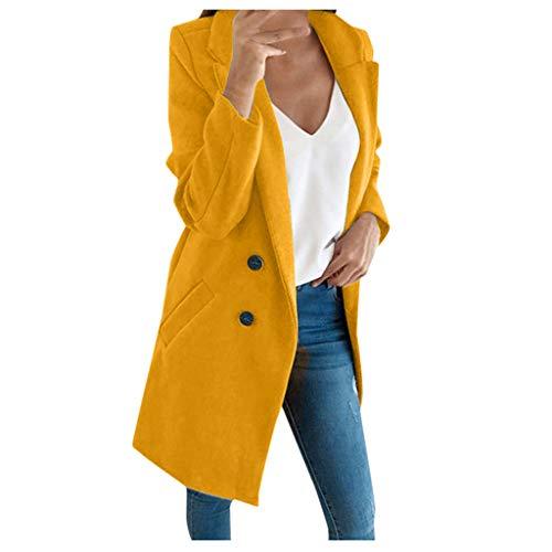 iHENGH Damen künstliche Wolle Elegante Mischungs Mantel dünne weibliche Lange Mantel Oberbekleidung Jacke(Gelb-1, XL)