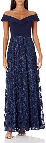 Alex Evenings Women s Lace Off The Shoulder Fit and Flare Dress Navy 4 product image