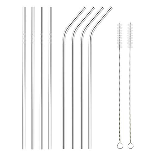 SipWell 8 Piece Set Extra Long Stainless Steel Drinking Straws - Extra Long Metal Drinking Staw w/ Cleaning Brush - Perfect for Tumblers/Rumblers/Cups/Mugs, Easy Clean - Any Kind of Beverage