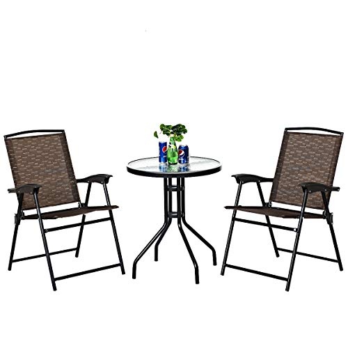 Goplus 3 Piece Bistro Set All Weather Patio Furniture Indoor & Outdoor Garden Round Table and Folding Chairs