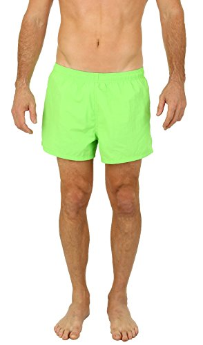 UZZI Men's Basic Swim Shorts Swimwear Trunks Green (Large)