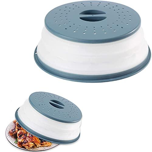 Tapa para microondas plegable, tapa para microondas, tapa para calentar alimentos tapa antisalpicaduras para microondas, cesta de filtro con orificios para el vapor para frutas y verduras (azul)