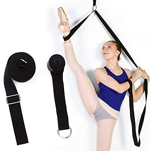 Adjustable Leg Stretcher Ballet Stretch Band on Door Yoga Belt Flexibility Trainer Stretching Equipment For Dance Gymnastics Stretching Training Home Gym. (black)