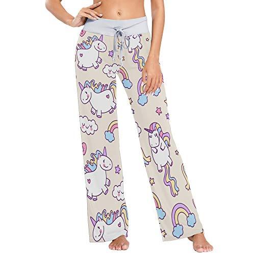 Frauen Bequeme Kordelzug Pyjamahose lässig weites Bein Yoga Hose L Einhorn Muster