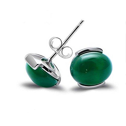 Jade Angel Pendientes de tuerca de plata de ley 925 con cuentas de ónix verde sintético de corte ovalado