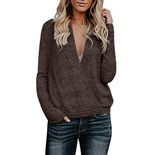 OSYARD Damen Sweater Oberseiten Sweatshirt Pullover, Frauen Pulli Tunika Hemd Lange Hülsen V-Ausschnitt Strickpullover Oberteile Große Größe Lose Bluse Tops T-Shirt Mode Cardigan