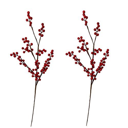 Knüllermarkt 32081 I Künstliche Deko Beerenzweige groß I rot Herbst Winter Weihnachten I Tischdeko Natur I Boho Landhaus