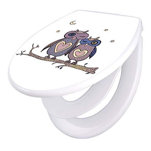 banjado Familien WC Sitz mit Absenkautomatik   Toilettendeckel mit Kindersitz   Klodeckel weiß   Toilettensitz mit Soft Close   44 x 37 cm WC Deckel mit Motiv Verliebte Eulen