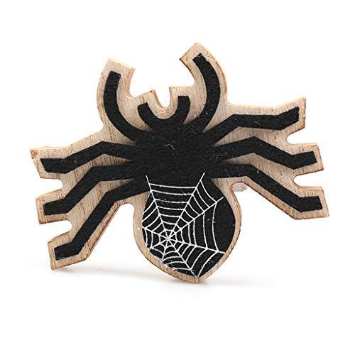 catyrre Halloween Hölzerne Ornamente, Skull Bat Spider Desktop Dekoration Halloween Bar Home Party Zubehör