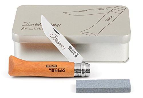Opinel No.9 Carbon Taschenmesser Geschenkdose inkl. Schleifstein und Wunschgravur auf Klinge + Dose