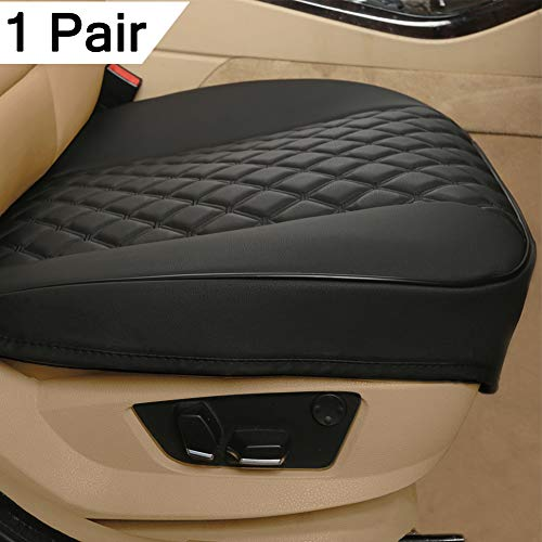 Black Panther 1 Pair PU Car Seat Covers, Front Seat Protectors Compatible with 90% Vehicles,Diamond Pattern Embroidery, Anti-Slip