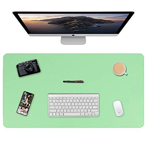 Almohadilla de escritorio, 90 x 40cm Ultra fino Alfombrilla para ratón impermeable almohadilla protectora de escritorio del cuero de PU alfombrilla de escritorio de doble cara (Verde menta + Azul)