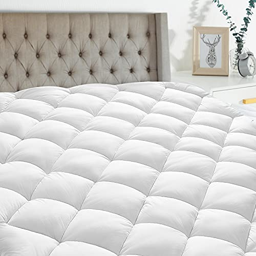 Queen Mattress Pad Cover Cooling Mattress Topper Pillow Top Breathable Mattress Toppers Quilted Fitted (8-21 Inch Fitted Deep Pocket,White)