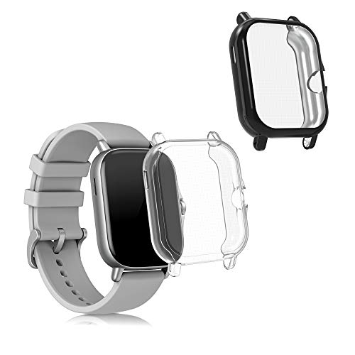 kwmobile 2 Carcasas para Pulsera Actividad - Set de 2X Funda Compatible con Huami Amazfit GTS 2 / 2e - Negro/Transparente