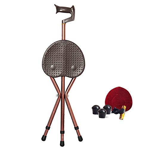 Heavy Duty Walking Cane with Folding Seat 440 lbs Capacity Adjustable Canes with Seats for Heavy Weight Thick Aluminum Alloy Cane Stool Seat Chairs (Brown with LED Light)