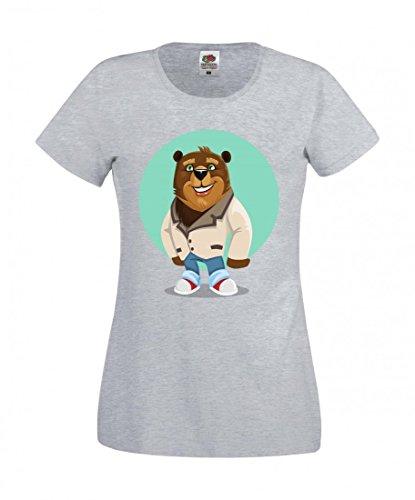 Camiseta BÄR- Personaje - NiedLICH - Juventud - Animales - Ropa de vestir - Jeans - Zapatos - LÄCHELND - Abrigo - Braunbär - Oso pequeño para hombre - mujer - niños - 104-5XL gris Para Hombre Talla : Medium