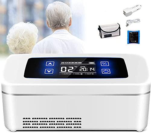 A-Generic Infrigerador de insulina Mini Insulina Recargable COOLBOX Mini Recargable con Pantalla LCD Insulina pequeña Nevera para Interiores - Inicio/Aire Libre - Buque de Tren de automóviles