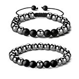 QINJIEJIE Magnetic Hematite Mens Bracelet Set Healing Crystal Black Frosted Bracelet Adjustable and Stretch 8mm Beaded Bracelets 2 PCS for Women Energy Magnet Stone Therapy Anxiety Stress Relieving