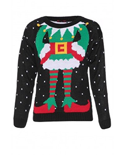 Momo Fashions - Maglione natalizio 3D, con elfo Nero  40-42