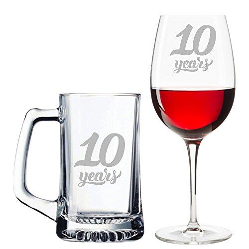 10 Years Beer Mug and Wine Glass Set - Wedding Anniversary - Anniversary