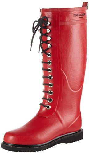 ILSE JACOBSEN HORNBÆK | Lange Damen Gummistiefel aus Natur Bio Gummi | Wasserdicht | PVC Frei | Hohe Stiefel mit Schnürsenkel aus Baumwolle | Dänisches Design | RUB1 | Deep Red | 36 EU